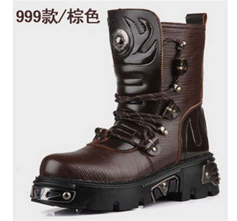 cheap leather biker boots 2015 top punk rock men s fashion army motorcycle cool boot