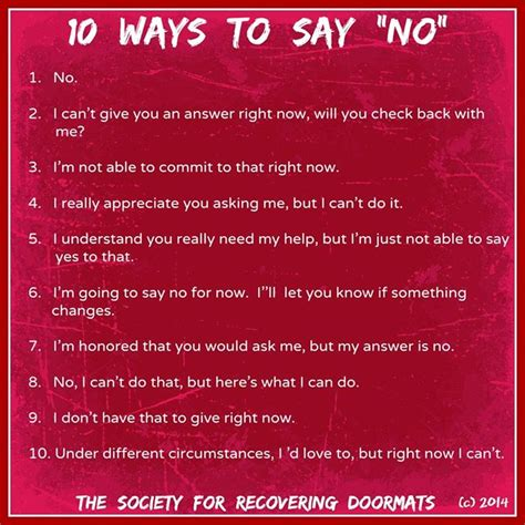 Ten Ways To Get A To Ask You Out by 10 Ways To Say Quot No Quot Cornerstone Family Services
