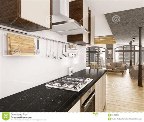 modern kitchen interior 3d rendering modern kitchen interior 3d render stock illustration