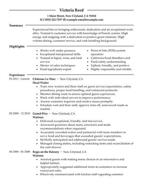 create great server resume sle for 2016 slebusinessresume slebusinessresume