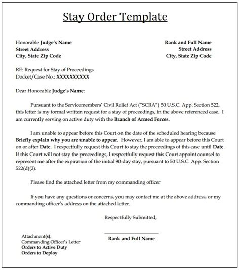 2 Court Stay Order Templates Free Word Excel Pdf Stay Template