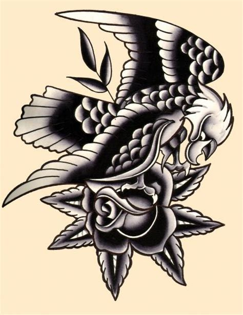 tattoo eagle rose traditional eagle by mr skully rose tattoo art print ebay