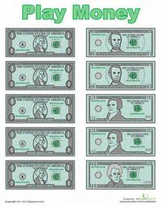 paper money template free play money worksheet education