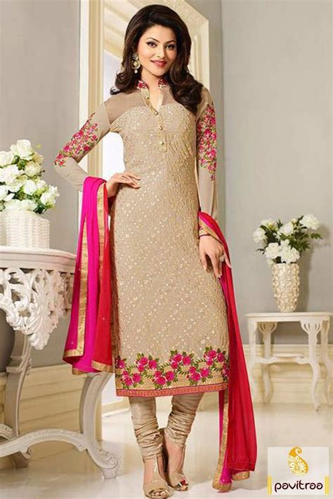 bollywood actress urvashi rautela cream designer salwar