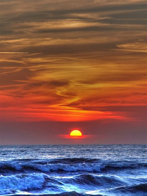 blue ocean amazing red sunset ipad wallpaper