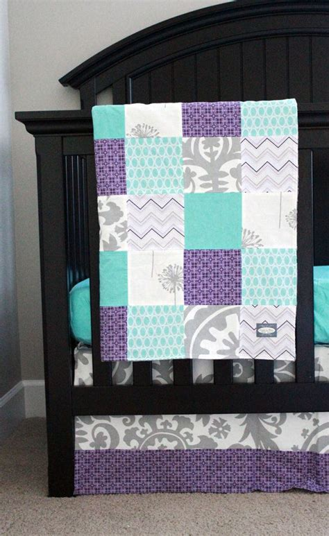 purple and gray crib bedding custom baby bedding aqua purple and grey crib bedding