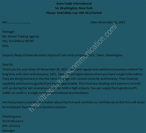 Reply Inquiry Letter Definition sle of reply letter to business status inquiry letter