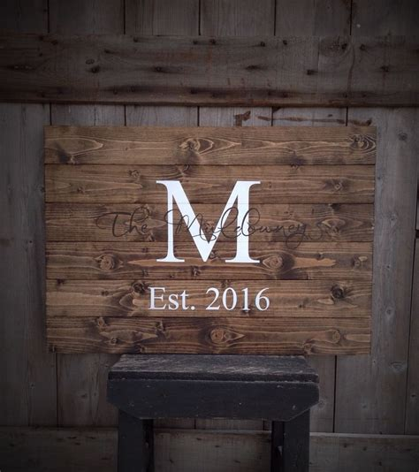 rustic home decor initial with wedding date guest book sign established sign the last name sign