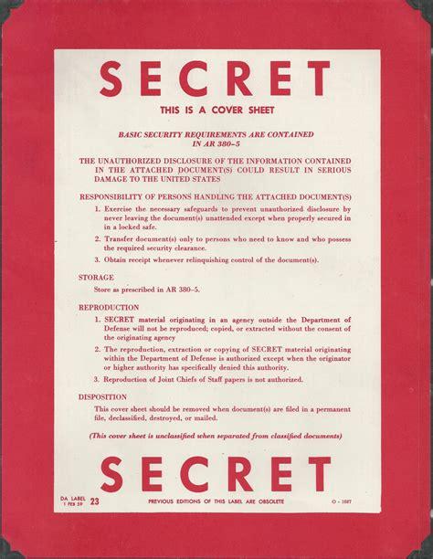 secret cover letter department of defence secret cover sheet