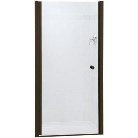 Sterling Frameless Shower Door Sterling Finesse 34 In X 65 1 2 In Frameless Pivot Shower Door In Bronze With Smooth
