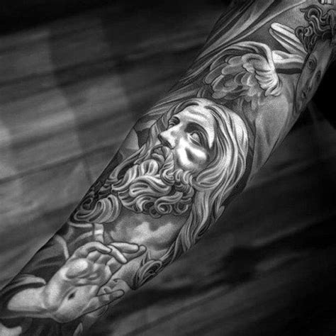 christian tattoo history grey religious beared lord tattoo male sleeves angeles