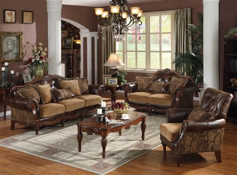 Traditional Living Room Furniture Sets Acme Dreena Traditional Bonded Leather And Chenille Living Room Set