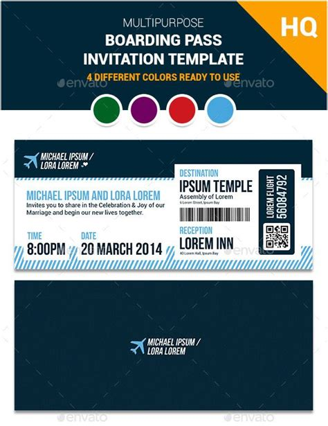 boarding pass template invitation multipurpose boarding pass invitation template