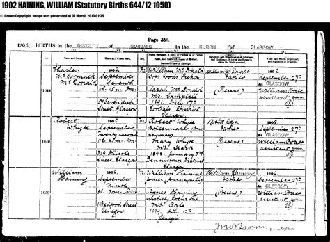 Birth Records Glasgow Hainings And Related Families