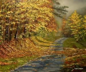 tableau peinture automne paysage chemin chemin aux