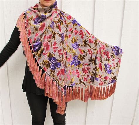 Pashmina Velvet Cutting cut velvet shawl in pink and purple with 68 gorgeous silk