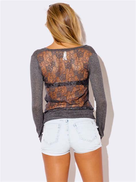 charcoal gray lace back cardigan sweater modishonline