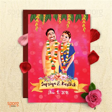 Marreige Invitation In Tulu by Sporg Studio Provides Illustrated Wedding Card Service