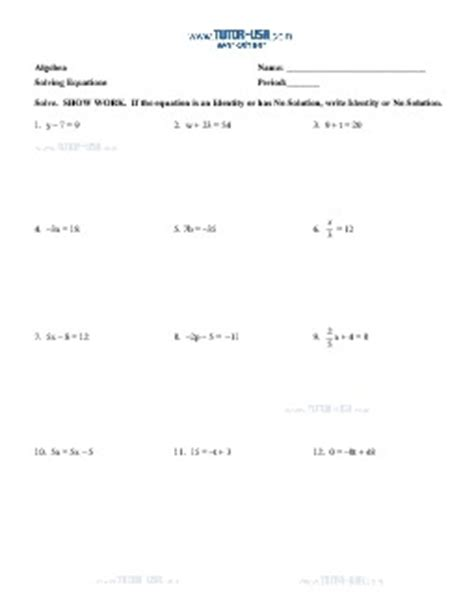 worksheet equations solve two step equations no