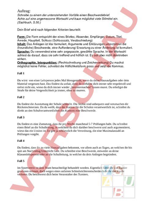 Beschwerdebrief Aufbau www unterrichtsmaterial ch texte schreiben