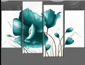 Teal Wall Decor by Large Teal Canvas Pictures Floral Flower Painting Wall