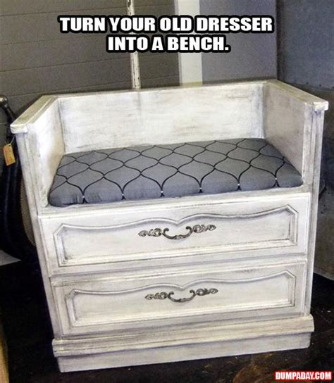 Turn An Old Dresser Into A Bench Dump A Day