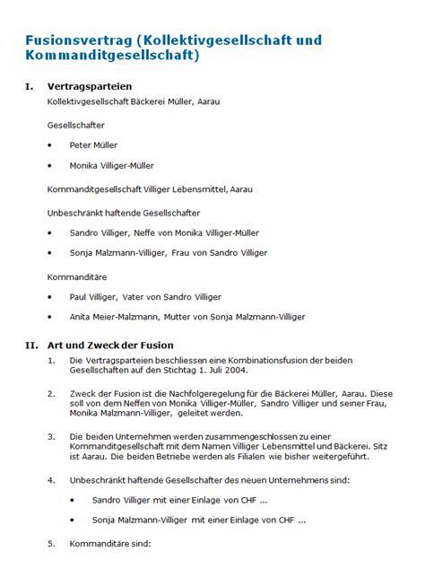 Vertragsvorlagen Muster Fusionsvertrag Kollektivgesellschaft Und
