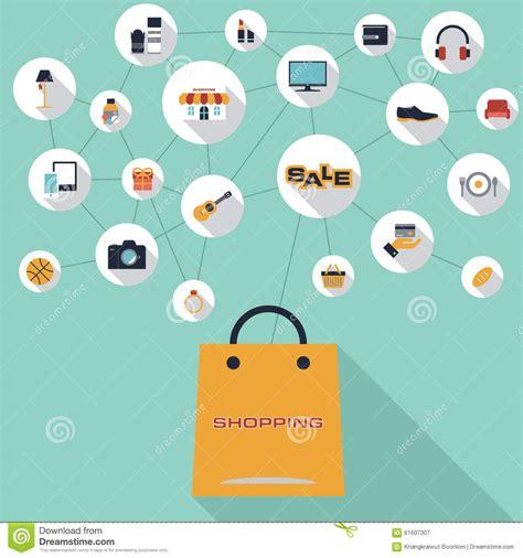 design your background online flat design online shopping concept cartoon vector