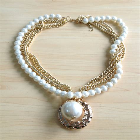 Handmade Pearl Jewelry Designs - handmade gold chain pearl necklace designs for