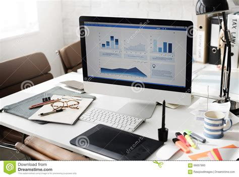 Working At The Desk Workspace Working Desk Accounting Analysis Concept Stock