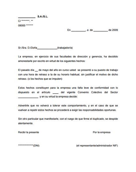 Modelo De Carta De Presentacion Que Acompaña Al Curriculum Vitae Carta De Amonestaci 243 N Laboral Sanciones A Trabajadores Modelo Carta