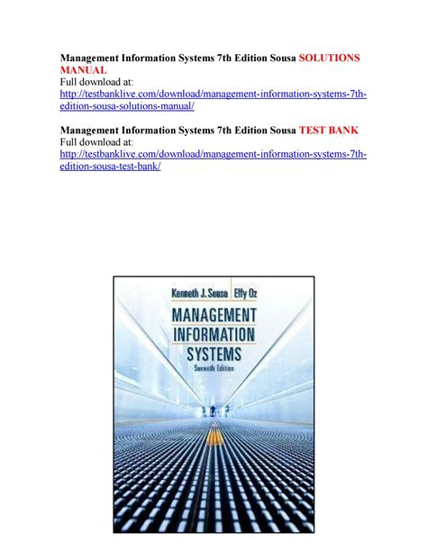 Management Information System Eigth Edition management information systems 7th edition sousa solutions manual by bach111 issuu