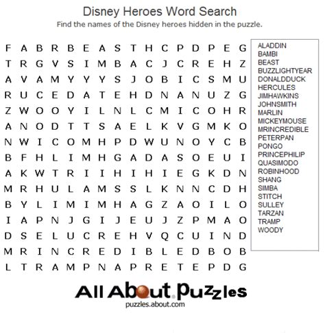 printable disney puzzle where to find free crossword puzzles online word search