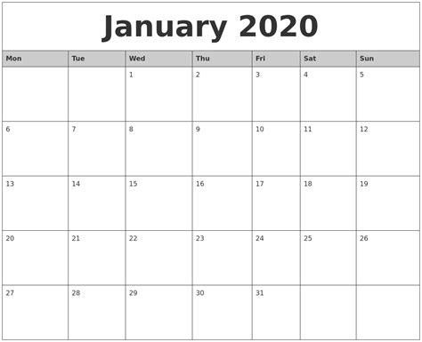 printable monthly calendars with pictures january 2020 monthly calendar printable