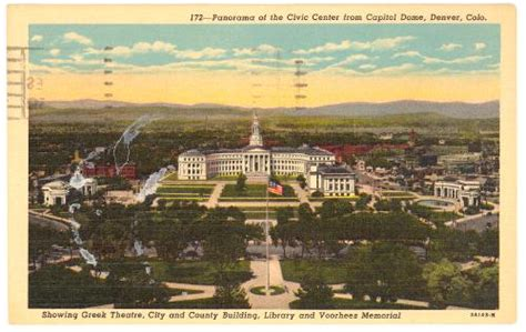 colorado denver birds eye view from capitol dome 1930s