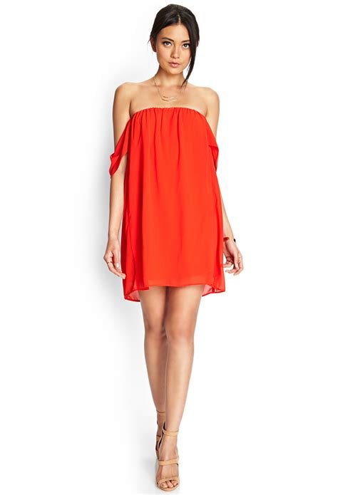 forever 21 swing dress forever 21 off the shoulder swing dress in red lyst