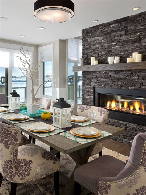gorgeous dining room    gas fireplace dining