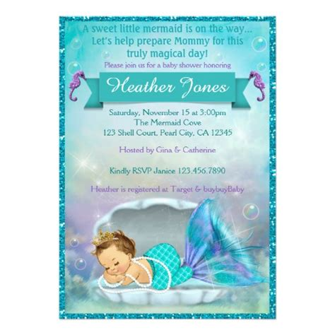 Mermaid Baby Shower Invites adorable mermaid baby shower invitations 130 zazzle