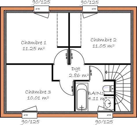 Plan Maison Etage 3 Chambres by Plan De Maison A Etage 3 Chambres Des Ides Novatrices Sur