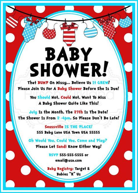 Dr Seuss Baby Shower Invitation Wording so dr seuss baby shower invitation by