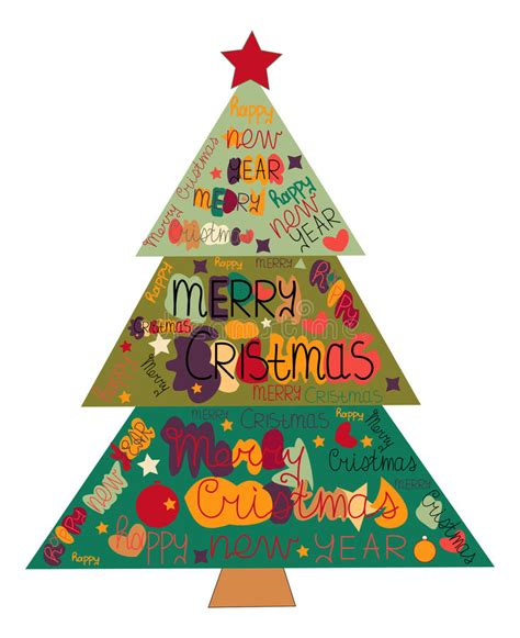 illustration christmas tree made with the words and the