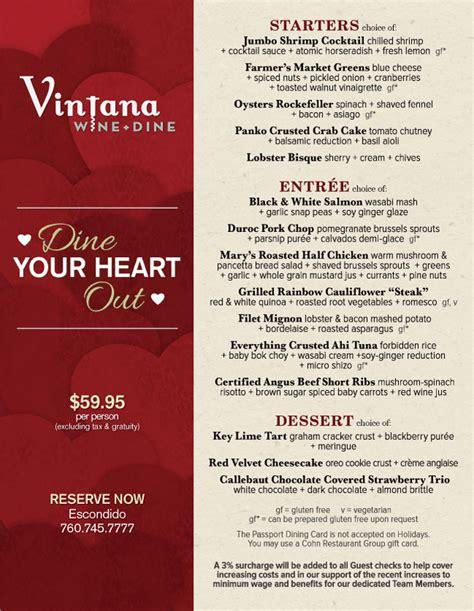 valentines day restaurant menu vintana s valentine s day menu cohn restaurant