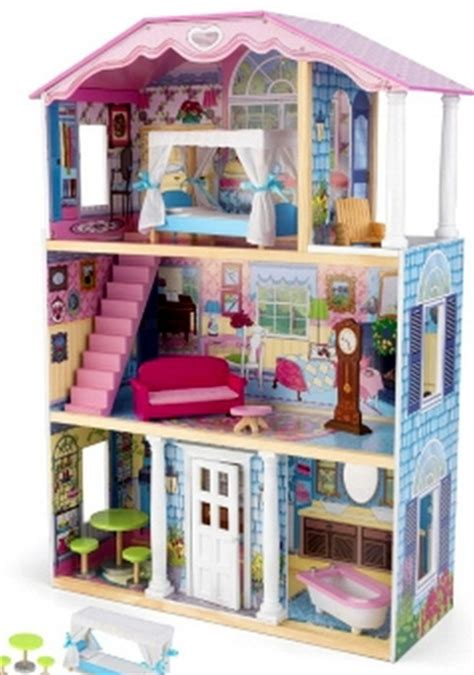 doll house setting kids wooden 3 level dollhouse doll house wood kit with 9 piece furniture set