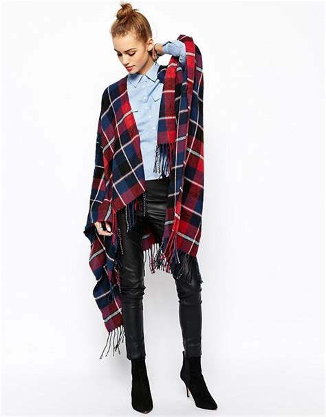 new look new look check wrap cape scarf