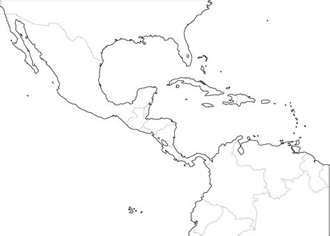 blank map of central america blank map caribbean sea