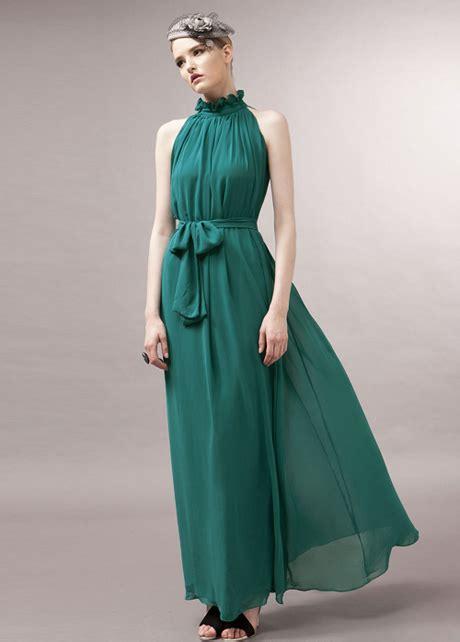 Maxi Mandarin Da traditional mandarin collar pleated chiffon dress with belt green on luulla