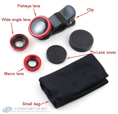 Universal Clip Lens 3 In 1 Macro Wide Fish Eye Lensa Jepit 3 In 1 3 in 1 clip on universal lens for mobile phone fisheye macro wide angle lens