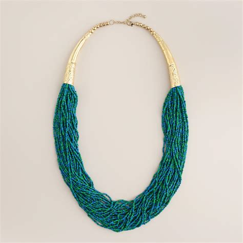 seed bead jewelry green turquoise and gold seed bead necklace world market