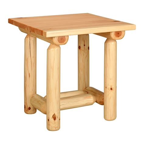 Rustic Log Pine End Table King Dinettes