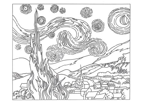 Starry Coloring Page Gogh Starry Night Artk12curriculum by Starry Coloring Page Gogh